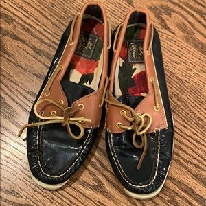 Sperry x MILLY patent leather boat shoes